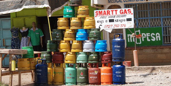 Gas cylinders displayed by a vendor. Prices are expected to reach their highest since 2015.