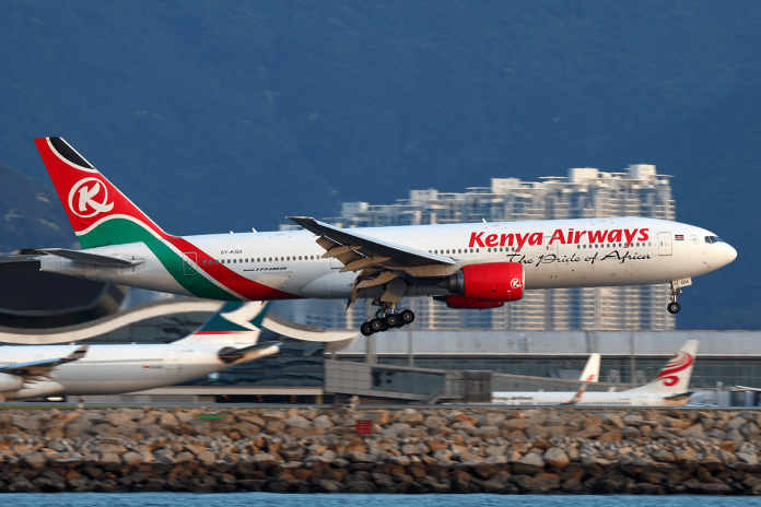 A Kenya Airways plane. Trading on the national carrier's shares remains frozen for the next 9 months, CMA announced on March 7, 2021. (Photo: Airways Magazine)