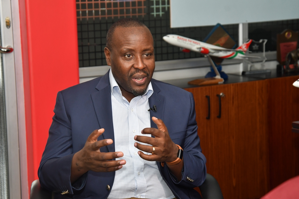 Kenya Airways CEO Allan Kilavuka. He has stated that the airline needs a Ksh55 billion government bail-out to survive the current financial year.
