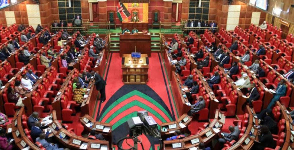 Inside the National Assembly of Kenya. There is currently no legal framework governing digital borrowing platforms and other financial products and services.