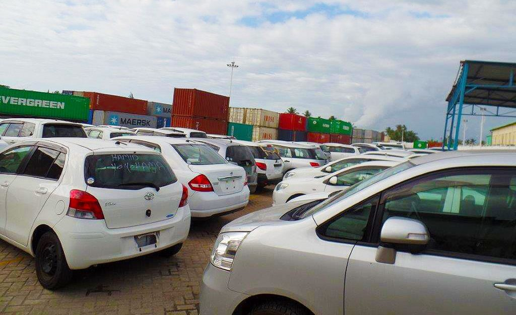 Cars at the Port of Mombasa. Global supply chains have been severely impacted by the pandemic, with international shipping container rates soaring alongside port congestion.