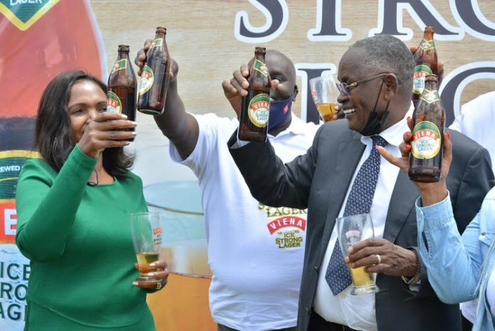 Tabitha Karanja (left) and her husband Joseph Karanja launching the Vienna Ice Strong Lager brand on April 27, 2021. Formulation of the product was informed by market research by Keroche which revealed dominance of imports in the strong beer segment.