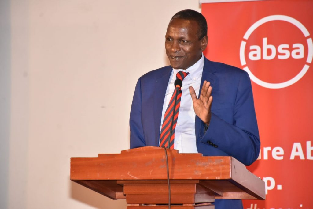 Eng. Stanley Kamau, Director Public Investments and Portfolio Management, National Treasury representing the Cabinet Secretary for National Treasury at an Absa event in 2019. He cited national security considerations for the government not selling its stake in firms such as Safaricom.