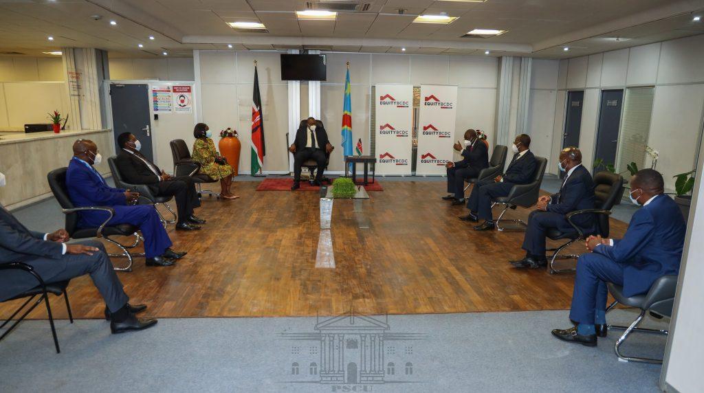 President Kenyatta was accompanied by several Cabinet Secretaries including James Macharia and Eugene Wamalwa.