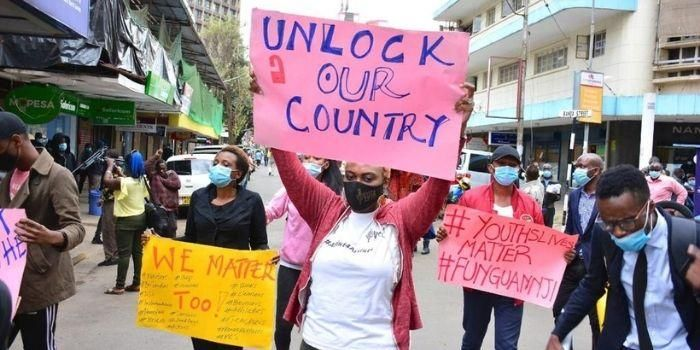 Demonstrators in Nairobi call for reopening of the economy. No relief programs, cash transfers or tax breaks have been offered to cushion individuals through the second lockdown.