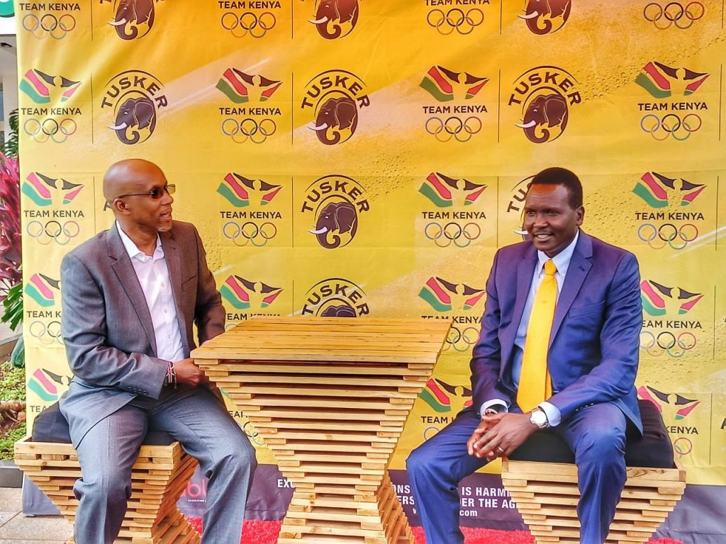 NOC-K President Paul Tergat (R) voiced his appreciation to KBL for their commitment to sports over the years. [Photo/OlympicsKe]