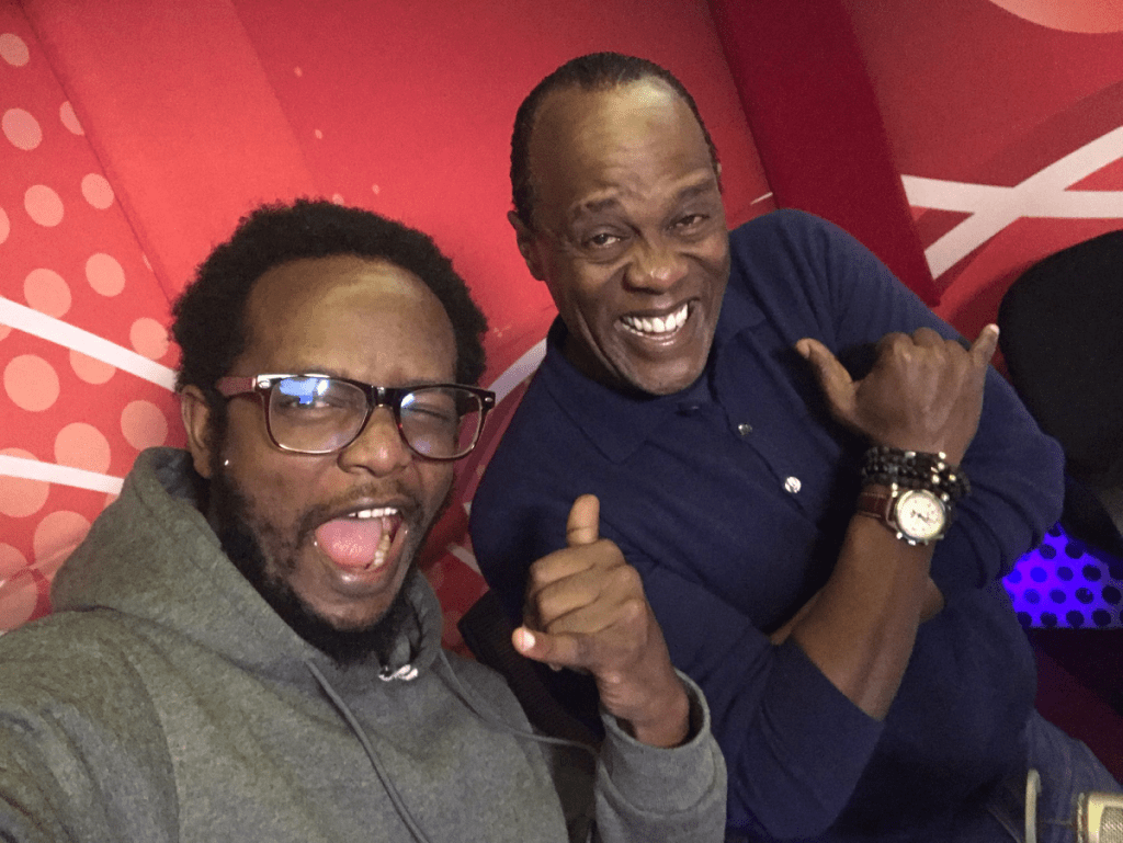 Professor Hamo (left) with Jeff Koinange. Clyde Katiba is filling in as co-host of the Morning Drive with Jeff.