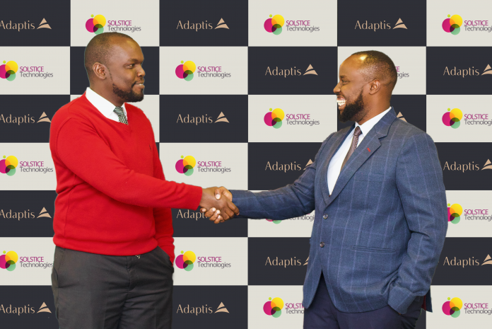 Solstice Technologies CEO Michael Bullut and Adaptis Group CEO Kenneth Mantu. Adaptis Group acquired Solstice in a bid to respond to SME's evolving needs.