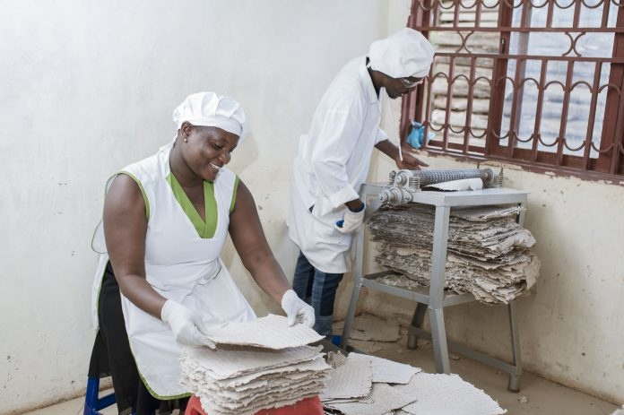 Employees of MakaPads, a Ugandan startup making sanitary pads made from papyrus and paper waste. They are among Startups in East Africa that have previously benefited from IMPACC.