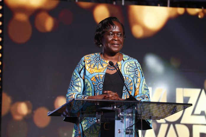 ICT Ministry Principal Secretary Esther Koimett speaks at the Kuza 2021 Broadcasting Awards gala on May 21, 2021. She stated that ensuring quality, clean content was not just the government's responsibility. [Photo/ CA]