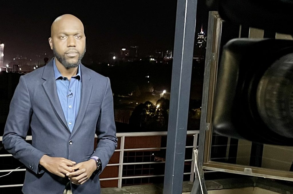 Larry Madowo at work on May 17, 2021. The former BBC and NTV journalist returned to Nairobi as CNN's Nairobi correspondent earlier in May. [Photo/ Larry Madowo]