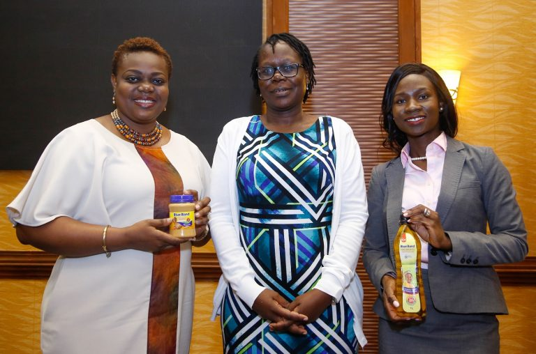 Upfield Head of Communication for Africa, Ms Oyebanjo Omutola, KEBS Quality Manager Lisa Okoth and Upfield Innovations Marketing Manager for East and Southern Africa, Linda Capwell during the launch of new Blue Band products at Serena Hotel, Nairobi in February 2020. [Photo/Ogilvy]