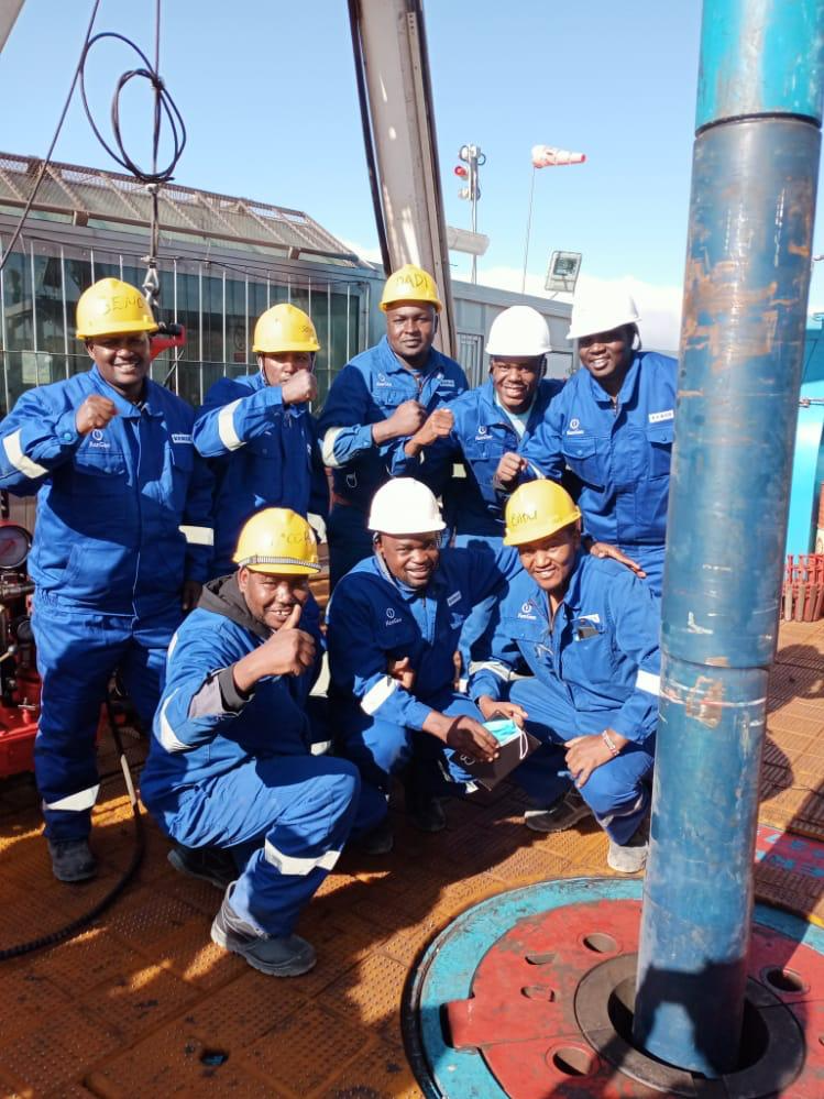 KenGen engineers pose for a photo as the company began drilling works on geothermal wells in Ethiopia.