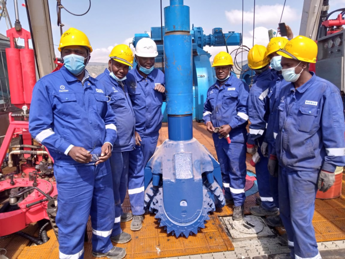 KenGen team of engineers drilling the first geothermal well for Ethiopia Electric Power (EEP) company, setting in motion Phase II of Ksh.7.6 billion contract.