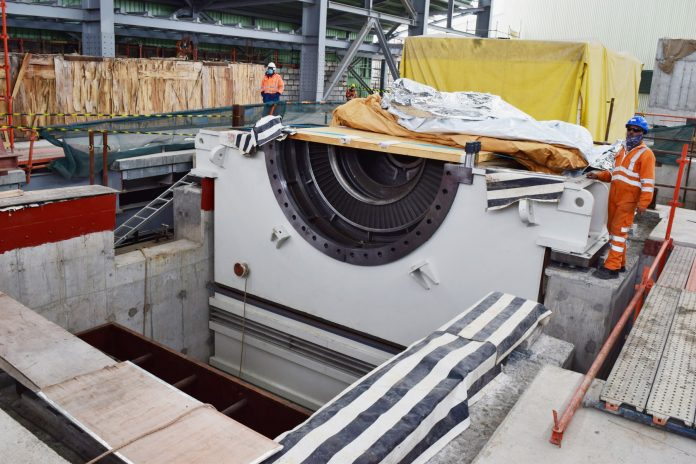 Installation of the steam turbine at KenGen Olkaria 1. It is the component that is usually rotated to drive the generator that produces electricity.