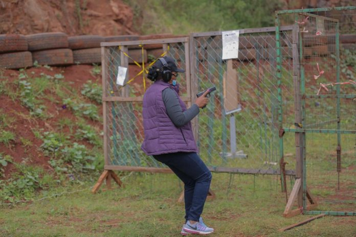 A woman in action at the Kirigiti range. The range is open to members of the National Gun Owners Association (NGAO) and their guests. [Photo/ NGAO-Kenya]