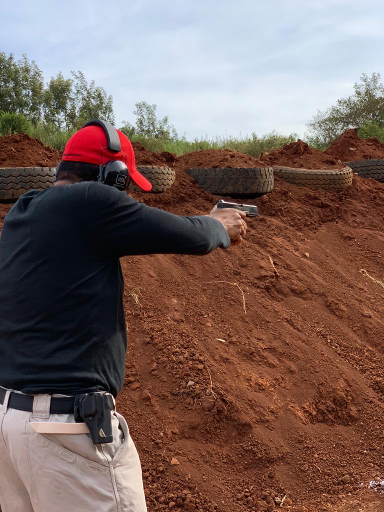 Sharp shooter Abdulhakim Daud representing Mombasa at a recent competition at the Kirigiti range. NGAO promotes shooting as a sport in the country. [Photo/ NGAO-Kenya]