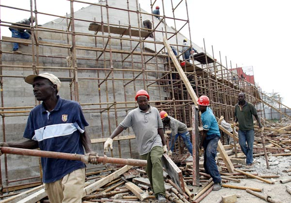 Construction workers at a site. The partnership by KCB Foundation and German Development Corporation (GDC) puts together KES 300 million to provide technical and vocational skills training for the next three years. [Photo/ National Construction Authority]