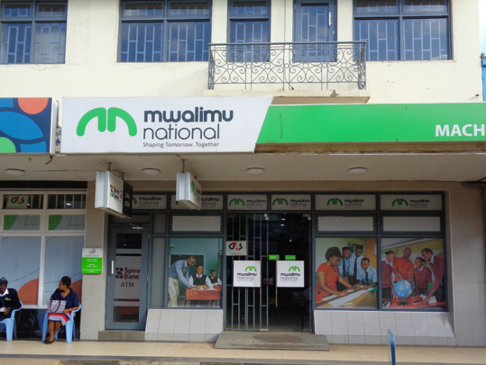 A Mwalimu National Sacco branch. The sacco has come under scrutiny over alleged fraud.