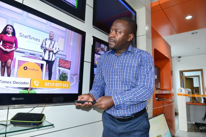 StarTimes Regional Marketing Director Aldrine Nsubuga during the unveil. The broadcaster offers a choice of three affordable platforms to enjoy local and international channels including the terrestrial (aerial), satellite and online streaming App, StarTimes ON.