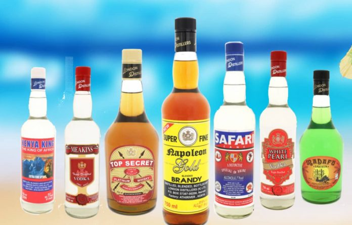 Some of the well-known alcohol brands by London Distillers Kenya (LDK). [Photo/ LDK Ltd]