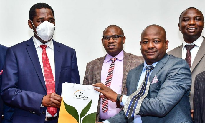 Agriculture Cabinet Secretary Peter Munya with KTDA Board Chairman David Ichoho during an induction ceremony on July 7, 2021.