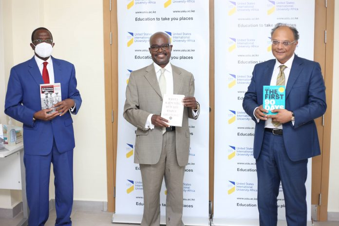L-R- Former Chief Justice Willy Mutunga, Outgoing Vice Chancellor USIU- Africa, Professor Paul Zeleza and Chair of the Board of Trustees USIU-A, Dr. Kevit Desai