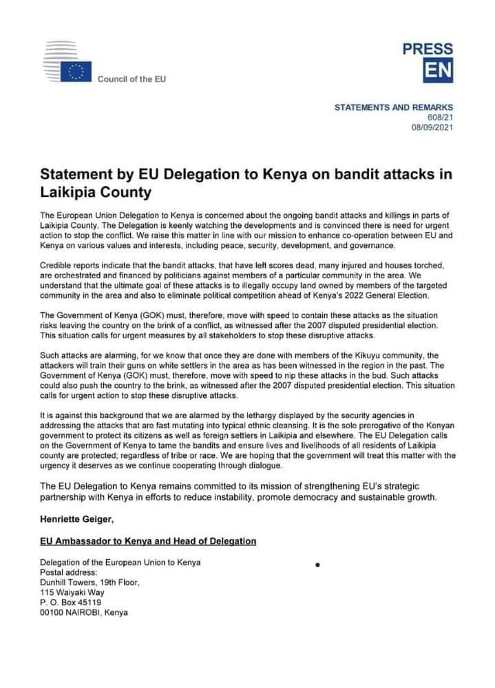 EU Fake Statement on Laikipia