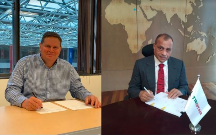 Steve Hoffman (left), Chevron Brands International Officer and Eugene Mayne (right), Tristar Group CEO signing the BBDA agreement.