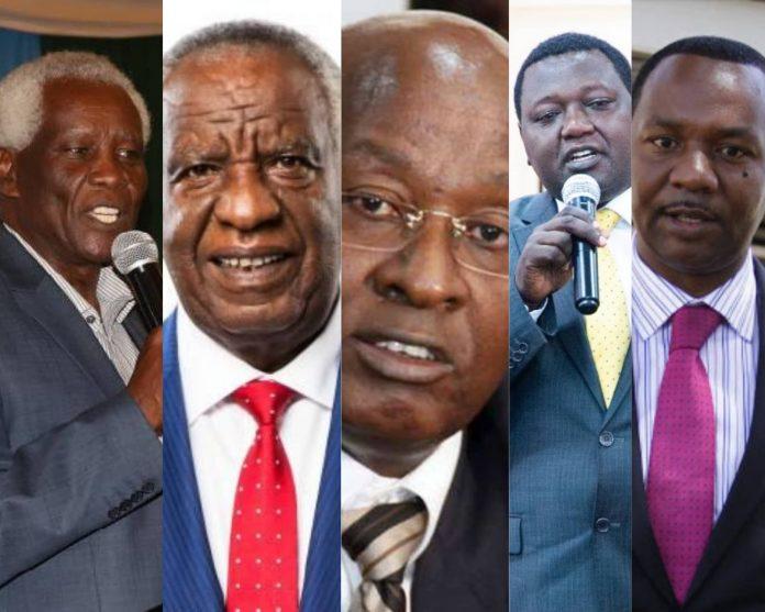(L-R) Titus Ibui, Peter Munga, Michael Waweru, Mutuma Nkanata and Dennis Waweru. They are among well-known members of the Mount Kenya Foundation.