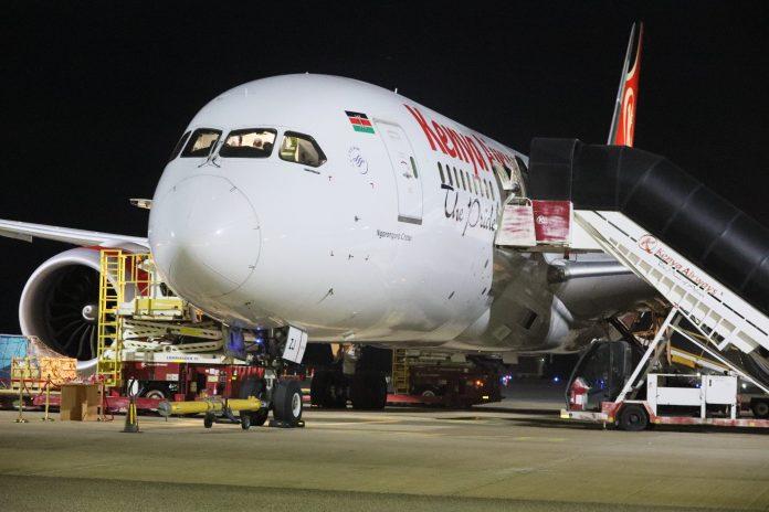 A Kenya Airways plane at Mombasa International Airport before starting a direct cargo flight to Shajara Airport, UAE on November 25, 2020.