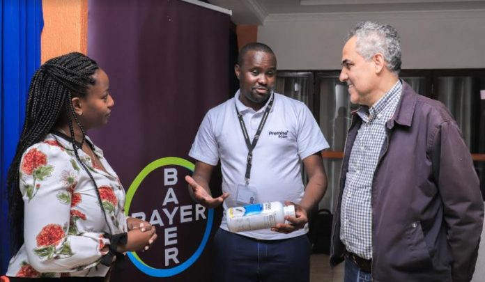 From left: Bayer Market Development manager for Sub Saharan Africa, Sarah De Souza, Bayer Technical sales specialist Kenya Uganda and Rwanda, and Lachlan Assistant General Manager, Abbas Reslan during the launch of a distribution partnership between Bayer Environmental Science and Lachlan Kenya Limited to distribute Premise 200SC, a premium termiticide targeting the building and construction industry in Kenya.