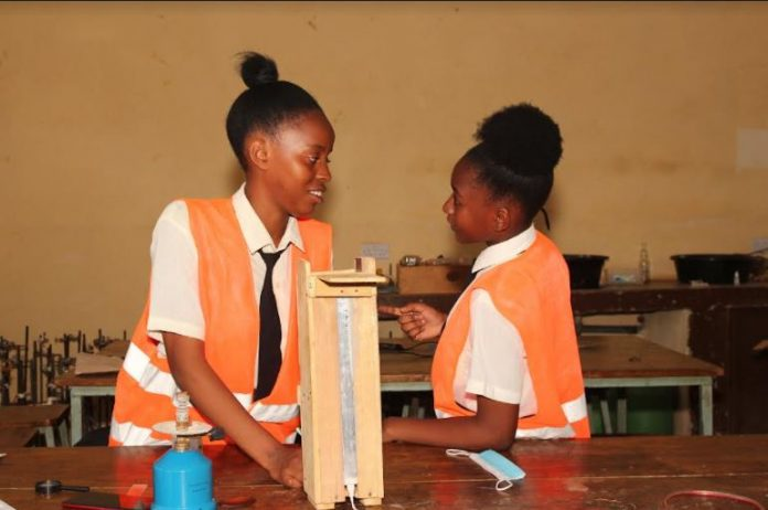 Sabrina Chepkemoi and Marrieta Halima of St Thomas Girls Secondary School in Kilifi County