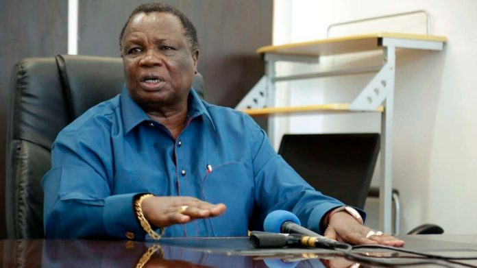 COTU Secretary General Francis Atwoli addresses journalists at his Tom Mboya Labour College office in Kisumu after holding a consultative meeting with a section of health workers leaders on February 6, 2021. [Photo/Tonny Omondi