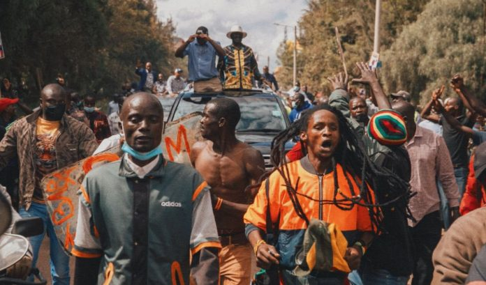 ODM leader Raila Odinga during a campaign stop in Nyahururu County on October 10, 2021. He championed the creation of a social welfare state to cushion vulnerable households and unemployed youth. [Photo/ @RailaOdinga]